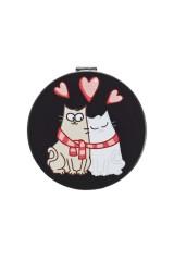 Зеркало карманное Влюбленные коты