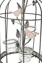 Подсвечник для 3-х свечей-таблеток Клетка с птицей
