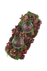 Подсвечник для 2-х свечей Шишки и ягодки
