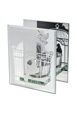 Подсвечник для свечи-таблетки Зеркальная клетка с птичкой