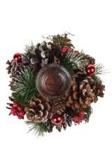 Подсвечник новогодний Заснеженные шишки и ягодки