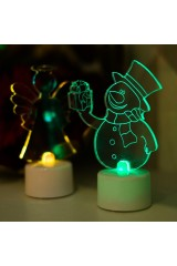 Фигура светодиодная на подставке Снеговик с подарком