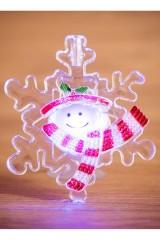 Светодиодная фигурка Снеговик на снежинке