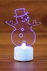Фигура светодиодная на подставке Снеговик в шляпе 2D