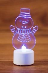 Фигура светодиодная на подставке Снеговик с шарфом 2D