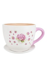 Горшок для цветов с поддоном Розовая гортензия