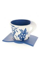 Горшок для цветов с поддоном Синий узор