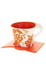 Горшок для цветов с поддоном Оранжевый узор