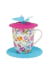 Кружка фарфоровая с крышкой на подставке Разноцветные тюльпаны