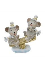 Фигурка декоративная Мышата на качелях