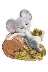 Фигурка копилка декоративная Мышонок в деньгах