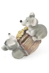 Фигурка копилка декоративная Мышки на бочке
