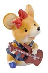 Фигурка копилка декоративная Мышка с гитарой