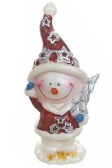 Фигурка новогодняя Снеговик с подарком