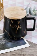 Кружка фарфоровая с бамбуковой крышкой и ложкой Мраморная крошка