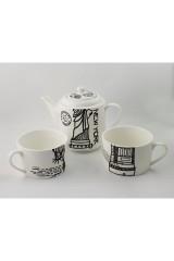 Чайник с двумя кружками фарфор Нью-Йорк