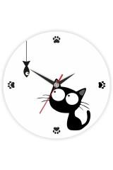 Часы настенные Котенок с рыбкой