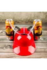 Каска с подставкой под банки Красная
