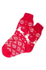 Носки шерстяные Красные с оленями
