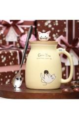 Кружка с ложкой Котик с клубком
