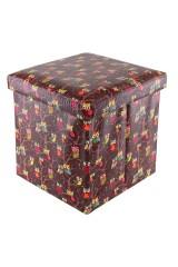 Пуф складной с ящиком для хранения Совы на ветках на коричневом