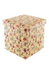 Пуф складной с ящиком для хранения Совы на ветках на бежевом