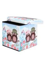 Пуф складной с ящиком для хранения Совята на голубом
