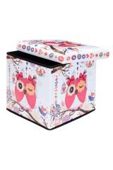Пуф складной с ящиком для хранения Забавная сова