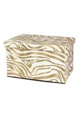 Пуф складной с ящиком для хранения Зебра золото
