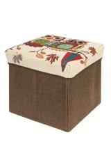 Пуф складной с ящиком для хранения Две совы на ветке