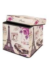 Пуф складной с ящиком для хранения Эйфелева башня с машиной