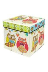 Пуф складной с ящиком для хранения Забавные совы