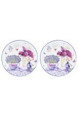 Набор десертных круглых тарелок Лаванда