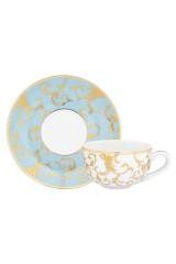 Чашка для капучино с блюдцем Королевкий узор на голубом