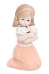 Фигурка декоративная Девочка в коралловом платье с цветами
