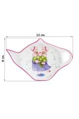 Розетка - подставка под чайный пакетик Свинка с ландышами