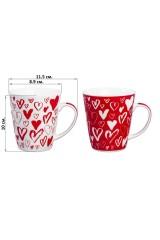 Набор кружек 2 предмета Сердца на белом и красном