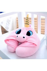 Дорожная подушка с капюшоном Розовый единорог