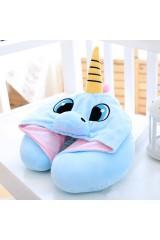 Дорожная подушка с капюшоном Голубой единорог