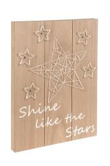 Деревянная дощечка с подсветкой Звезда