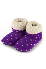 Сапожки-грелки Фиолетовые в горох
