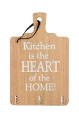 Настенное украшение с 3 крючками Кухня - сердце дома