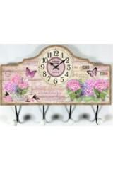Коллаж-ключница с часами Розовый букет