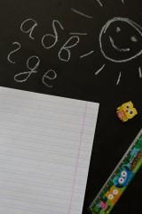 Тетрадь в линейку с косыми линиями с нанесением текста Back to school