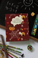 Тетрадь в клетку с нанесением текста «Хэллоуин»