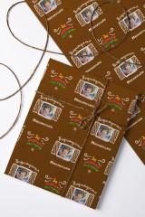 Бумага упаковочная с вашим текстом Имбирный домик