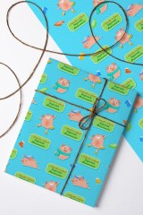 Бумага упаковочная с вашим текстом Зимние свинки