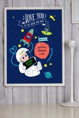 Постер в раме с Вашим текстом Детская метрика для мальчика