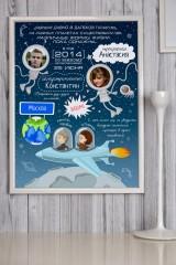 Постер в раме с Вашим текстом и фото Космос