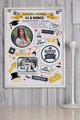 Постер в раме с Вашим текстом и фото Подарок выпускнику